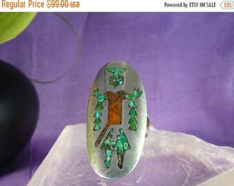 ON SALE Ring Ring Vintage 1980s Native Eagle Dancer Ring Silver Coral Turquoise Inlay Sz 5.5