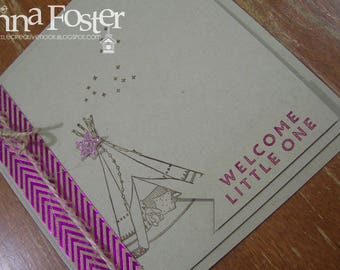 Pink Foil Teepee Baby Card