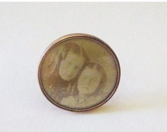 On Sale Victorian sepia tone children photographic portrait mourning brooch pin back