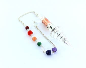 Silver Coil and Copper Pendulum with Chakra Chain Balancing Intuition Spiritual Energies Yoga Reik, Meditation