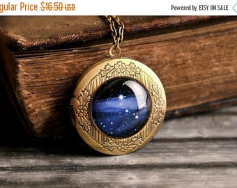 20% OFF Milky way photo locket, antique brass photo locket, picture photo locket, milky way necklace, photo locket necklace, Some Magic