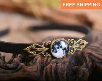 Choker necklace, full moon choker, moon necklace, black choker, leather choker, moon choker necklace, full moon, birthday gift for women