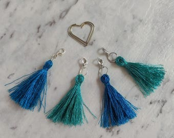Metallic Tassel Traveller's Notebook Charms. Blue or Teal Metallic Thread with Silver Accents. 2 Colours to choose from.