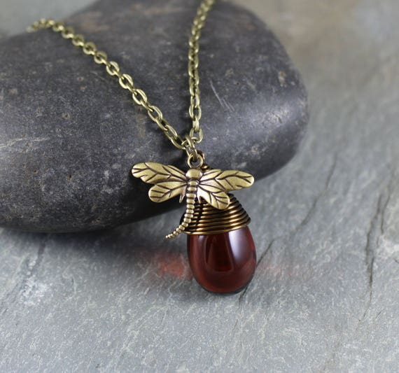 Dragonfly and Amber ~ Wire Wrapped Dark Amber Briolette Charm Necklace ~ Outlander inspired