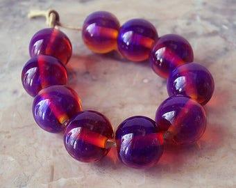 silver glass lampwork beads 5 pcs purple pink lampwork round