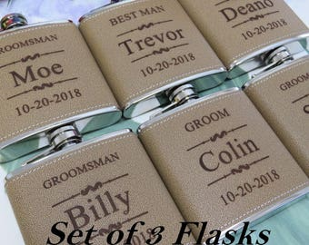 Groomsmen Gift Set, 3 Engraved Flask, Personalized Flask, Gift for Groomsman, Bachelor Party Flask, Best Man Gift, Father of the Bride Gift
