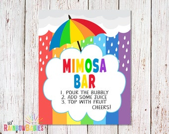 PRINTABLE Mimosa Bar Sign, Baby Shower Party Signs, Printable Party Signs, Buffet Table Sign, Rainbow Baby Shower Sign, INSTANT DOWNLOAD