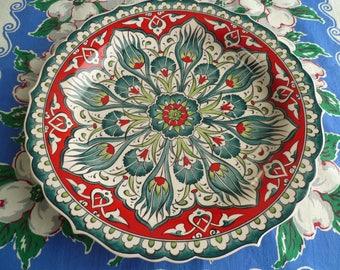 Turkish Ceramic Plate, 12 inch  platter, serving platter, Iznik design, teal green and red, wall art, wedding gift