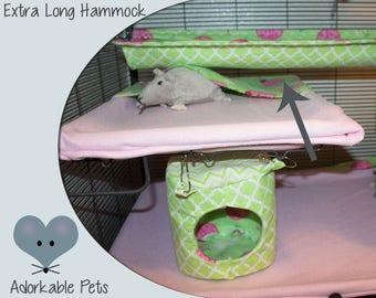 Extra long Hammock, Add soft shelf to Critter Nation, Rat Hammock, Chinchilla Hammock, Short but very long Hammock, Safety Net, Trough like