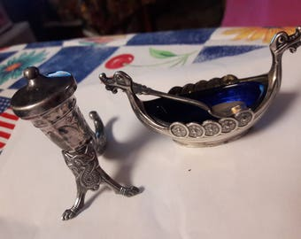 Sterling silver norwegian salt and pepper set