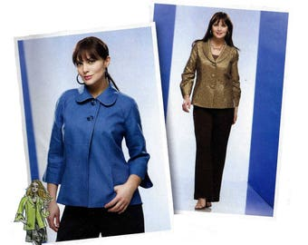 """Women's Jacket with Round or Shawl Collar Sewing Pattern, Plus Size 18, 20, 22, 24 Bust 40, 42, 44, 46"""" Uncut Simplicity 2899"""