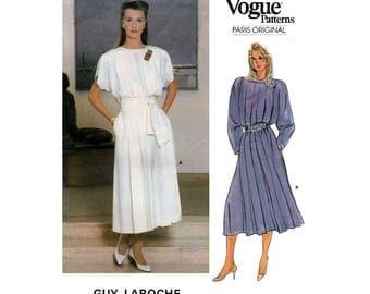 Paris Original Dress by Designer Guy Laroche, Women's Sewing Pattern Misses Size 8 UNCUT Vintage 1980's Vogue 1553