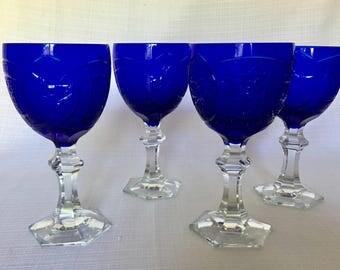 Vintage Cobalt Crystal Wine Goblets Set of Four
