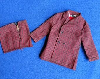 """SALE!! Vintage 1960's Ken Black & Red Sports Jacket and """"Cut off"""" Short"""