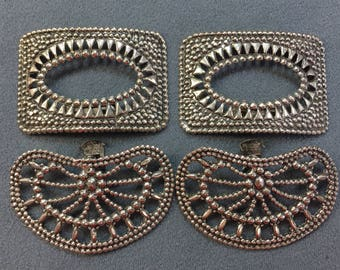 Two Pairs of Stamped Shoe Buckles.  Free shipping