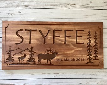 Cabin Sign, Rustic Signs, wooden carved signs, Outdoor Signs, Camp Sign, Elk, Mountains, Pine Trees,  Custom Carved Sign,  Benchmark Signs