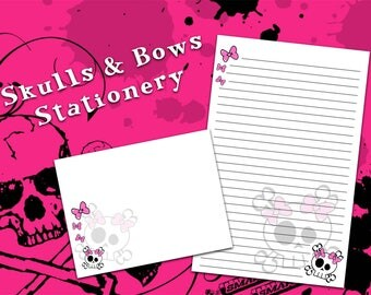 Girl Skull Stationery, Skull Stationery, Girly Stationery, punk rock gifts, letter writing paper
