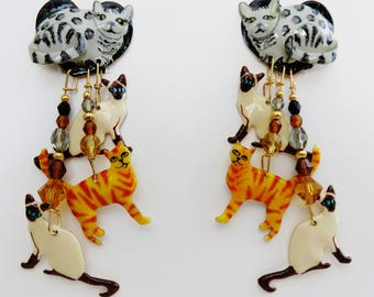 Rare Vintage Lunch At The Ritz Alley Cat Clip Earrings