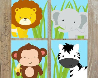 Safari nursery decor, PRINTABLE art, Safari animal prints, Nursery wall art, Nursery safari prints, Zebra print, Lion print, Monkey Print