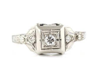 White Gold Diamond Ring, 1940s Diamond Ring, 18ct White Gold Diamond Engagement Ring, Retro Diamond Ring, Mid Century White Gold Ring