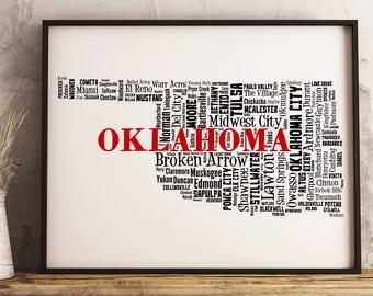 Oklahoma Map Art, Oklahoma Art Print, Oklahoma City Map, Oklahoma Typography Art, Oklahoma Wall Decor, Oklahoma Moving Gift