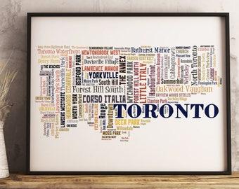 Toronto Map Art, Toronto Art Print, Toronto Neighborhood Map, Toronto Typography Art, Toronto Poster Print, Toronto Word Cloud