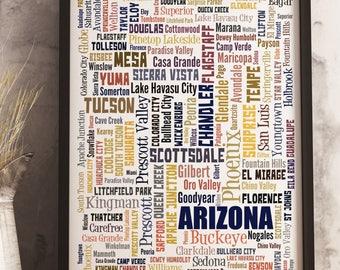 Arizona Map Art, Arizona State Typography Art, Arizona Decor, Arizona Cities Typography Art, Arizona Poster