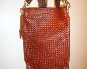 The SALE Is On SALE Beautiful Must See Vintage Cognac Leather Fringe Crossbody/Shoulder Bag