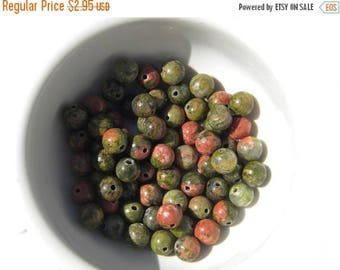 HALF PRICE 20 Unakite Beads 6mm