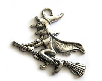 6 Silver Flying Witch on Broomstick Charms