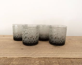 Set of 4 Vintage Gray Modernist Whiskey Rocks Double Old Fashioned Glasses