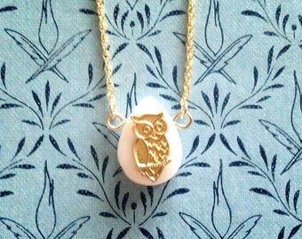 Pearl drop pendant necklace mother of pearl (shell) with raw brass OWL bird print
