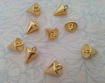 10mm cone spike charm 1pc 3 dimensional short thick gold plated