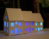 Little house, night light/lantern, Laser cut wood with white or colour changing LED