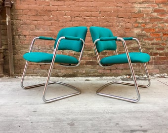 PAIR of RETRO Industrial Steelcase Teal Chrome Cantilever Chairs 1983