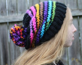 RTS Beanie Hat, Black Multicolored Rainbow Stripe Slouchy Beanie, Ready to Ship, Striped Handmade Crochet Hat, Black Knit Hat
