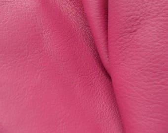 "Leather Cow Hide Scrap 1 pound Imperial Posh Pink/Totally Teal ""Signature"" flat grain DE-59223 (Sec. 5,Shelf 1,B)"