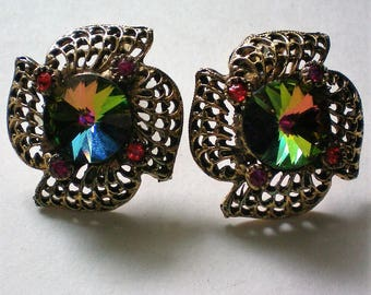 Watermelon Rivoli Clip Earrings - 5416