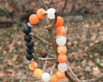 Orange agate and moonstone diffuser bracelet