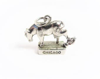 Vintage Wells Sterling Chicago Fire Cow Charm