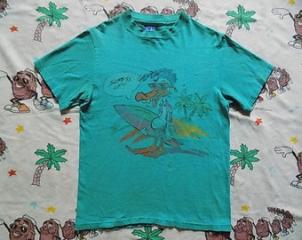 Vintage 80's Ocean Pacific Dizzy Duck Surf's Up!! T shirt, size Small 1986 Op cartoon surf Beachwear