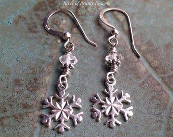 Herkimer Diamond Snowflake Earrings, Rock Crystal Sterling Silver Dangle Earrings, Winter Earrings, Gift Under 50, River of Beauty Designs