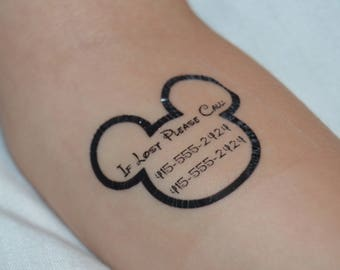 14 Personalized Mickey Mouse Safety/Emergency Contact Temporary Tattoos