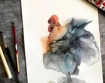 Rooster Original Watercolor Painting, Rooster Art, Painting of Rooster by CanotStopPainting
