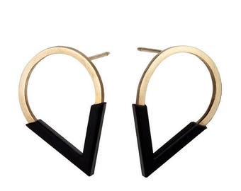 ON SALE 14K Gold & Black Plated Drop Shaped Geometric Bar Minimalist Statement Stud Earrings - Handmade Product