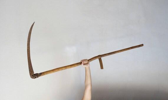 Antique Scythe Old Sickle Grim Reaper Blade Scythe Weapon