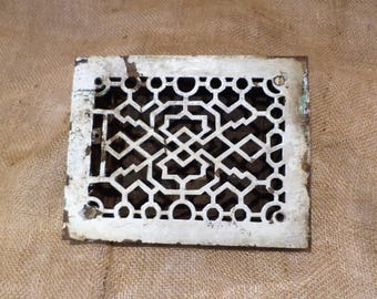 Vent Grate or Radiator Grate, Compact Rectangular Cast Iron Architectural Salvage