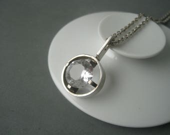 Large modernist pendant with a rock crystal by Matti J. Hyvarinen, Finland.