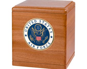 Mahogany Freedom Military Wood Cremation Urn