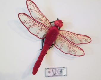Dragonfly Art - Wall Hanging - Home Decor - Housewarming Gift - Birthday Gift - Red Velvet with Gold